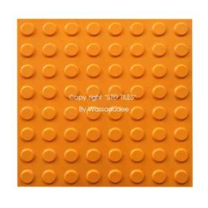 แผ่นยางคนตาบอด 40 x 40 cm สีส้ม